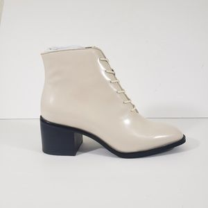 Jeffrey Campbell White Lace Up Block Heel Booties